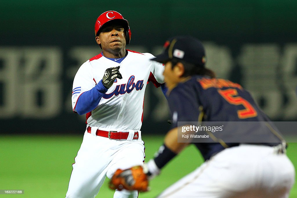 Outfielder Alexei Bell #88 of Cuba runs during the World Baseball Classic First Round Group A game between Japan and Cuba at Fukuoka Yahoo! Japan Dome on March 6, 2013 in Fukuoka, Japan.
