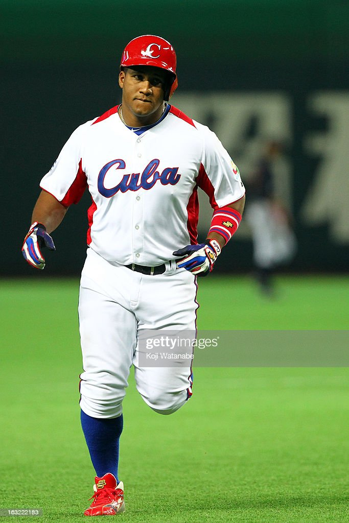 Outfielder Alfredo Despaigne #54 of Cuba runs the bases after a three run home run in the bottom half of the eightth inning during the World Baseball Classic First Round Group A game between Japan and Cuba at Fukuoka Yahoo! Japan Dome on March 6, 2013 in Fukuoka, Japan.
