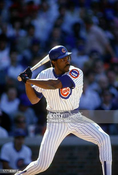 Outfielder Andre Dawson of the Chicago Cubs bats during an Major League Baseball game circa 1989 at Wrigley Field in Chicago Illinois Dawson played...