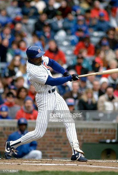 Outfielder Andre Dawson of the Chicago Cubs bats during an Major League Baseball game circa 1992 at Wrigley Field in Chicago Illinois Dawson played...