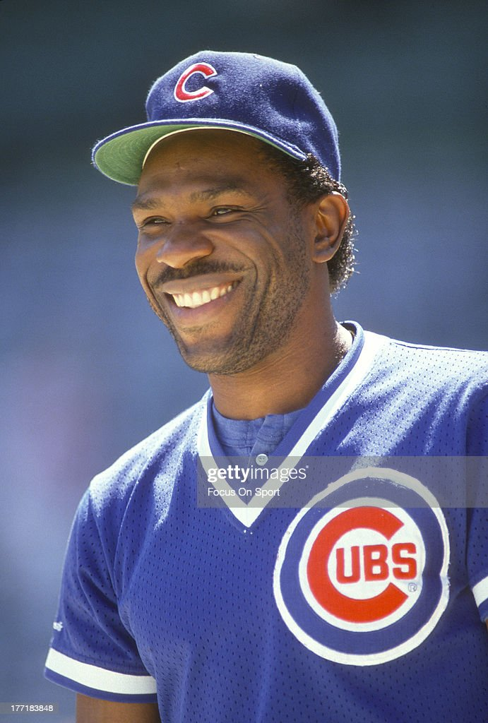 Outfielder <a gi-track='captionPersonalityLinkClicked' href=/galleries/search?phrase=Andre+Dawson&family=editorial&specificpeople=206316 ng-click='$event.stopPropagation()'>Andre Dawson</a> #8 of the Chicago Cubs smiles in this portrait prior to the start of a Major League Baseball game circa 1989. Dawson played for the Cubs from 1987-92.