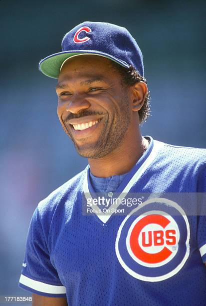 Outfielder Andre Dawson of the Chicago Cubs smiles in this portrait prior to the start of a Major League Baseball game circa 1989 Dawson played for...