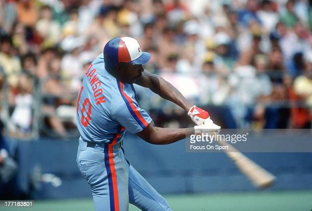 Outfielder Andre Dawson of the Montreal Expos bats against the Philadelphia Phillies during an Major League Baseball game circa 1986 at Veterans...