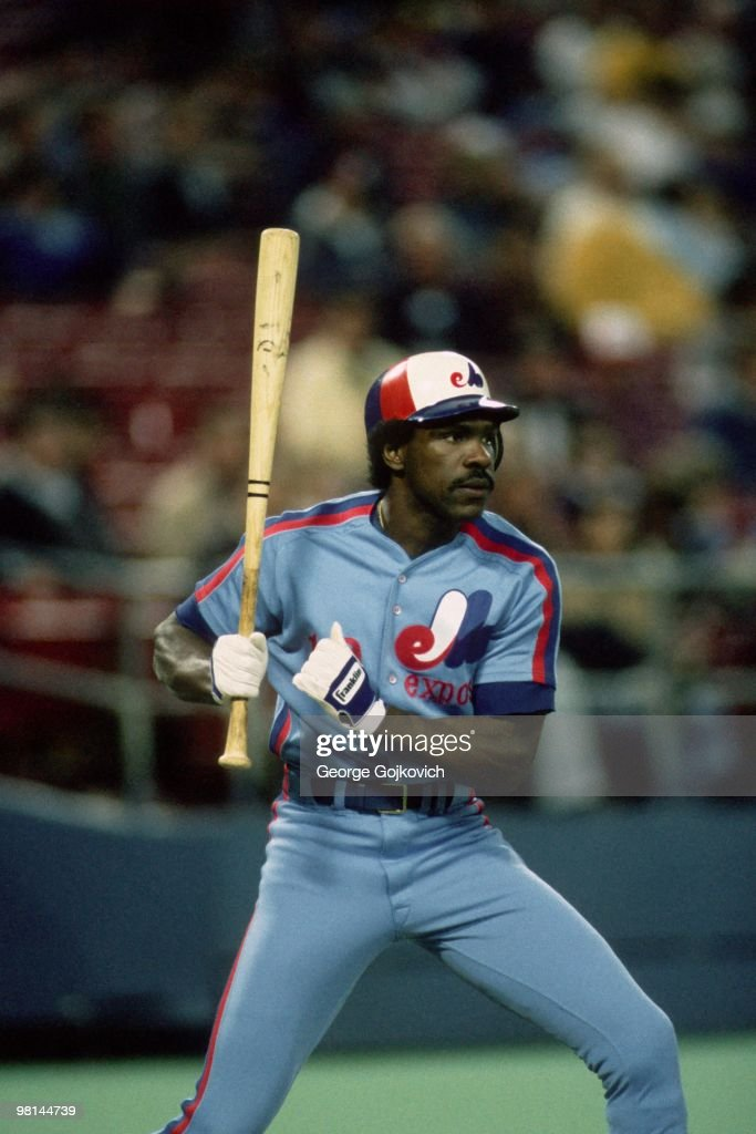Outfielder <a gi-track='captionPersonalityLinkClicked' href=/galleries/search?phrase=Andre+Dawson&family=editorial&specificpeople=206316 ng-click='$event.stopPropagation()'>Andre Dawson</a> of the Montreal Expos bats during a Major League Baseball game against the Pittsburgh Pirates at Three Rivers Stadium in 1985 in Pittsburgh, Pennsylvania.
