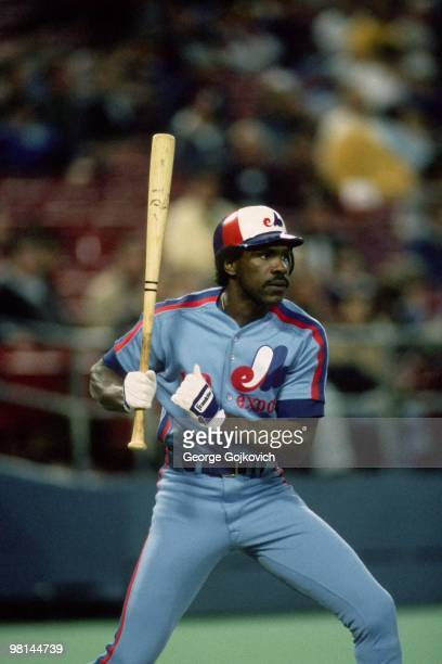 Outfielder Andre Dawson of the Montreal Expos bats during a Major League Baseball game against the Pittsburgh Pirates at Three Rivers Stadium in 1985...