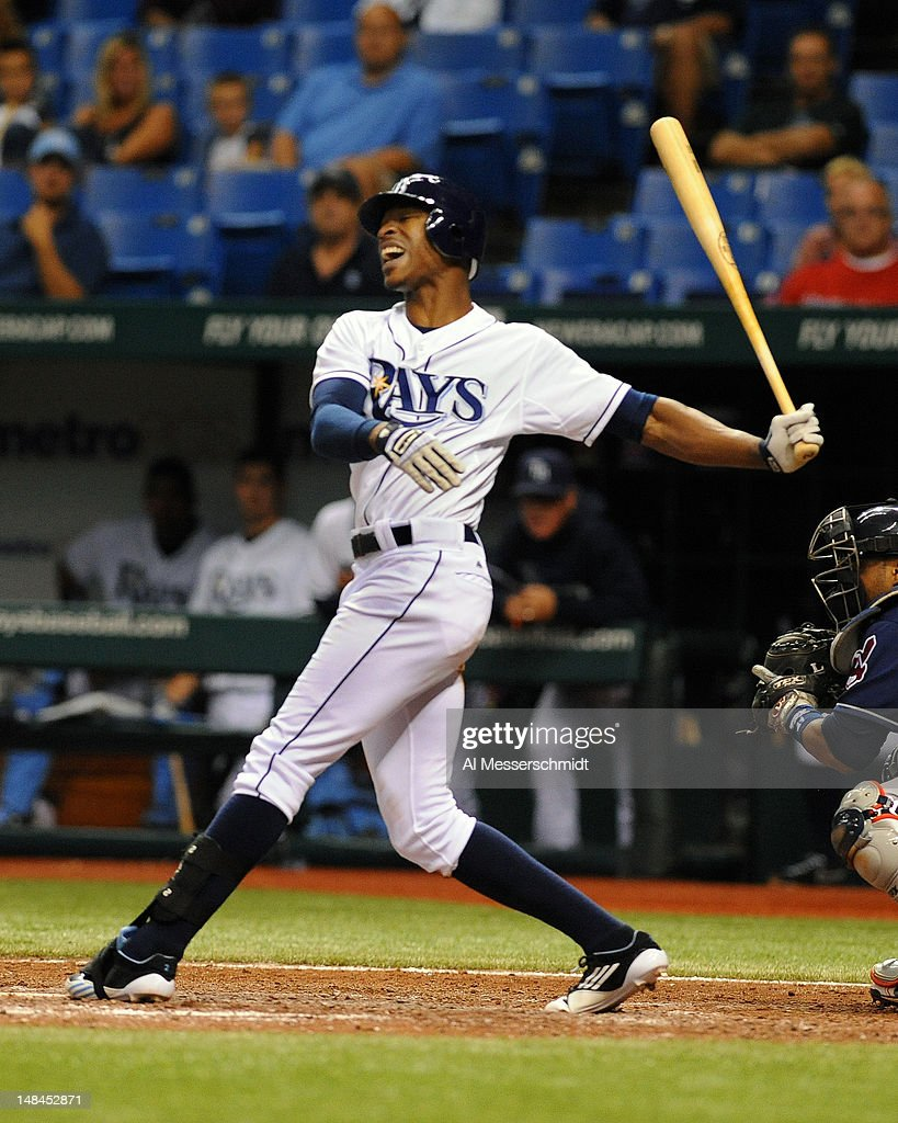 Outfielder B. J. Upton #2 of the Tampa Bay Rays strikes out against the Cleveland Indians July 16, 2012 at Tropicana Field in St. Petersburg, Florida.