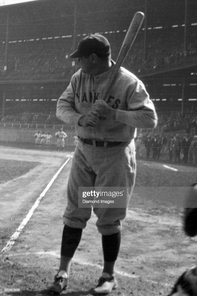 Outfielder Babe Ruth of the New York Yankees takes batting practice prior to Game One of the World Series on October 5 1927 between the Yankees and...