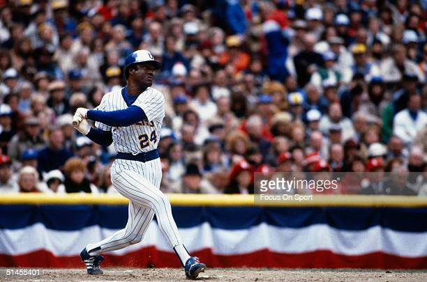 Outfielder Ben Oglivie of the Milwaukee Brewers bats during the World Series against the St Louis Cardinals at County Stadium in October 1982 in...