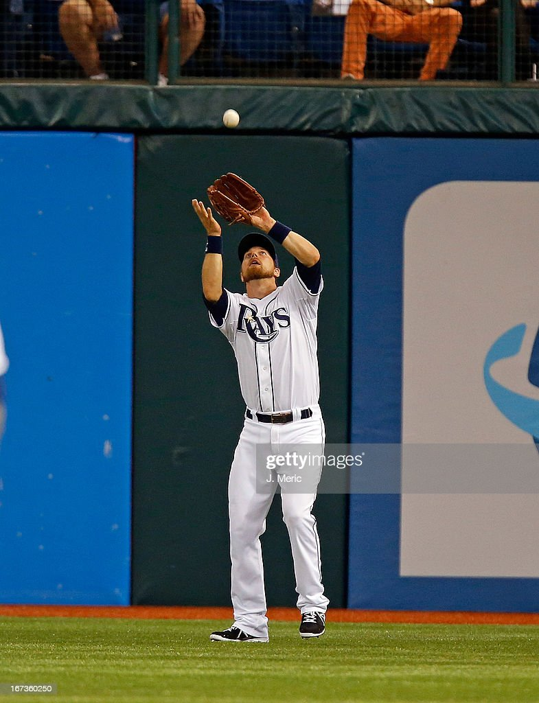 Outfielder Ben Zobrist #18 of the Tampa Bay Rays catches a second inning fly ball against the New York Yankees during the game at Tropicana Field on April 24, 2013 in St. Petersburg, Florida.