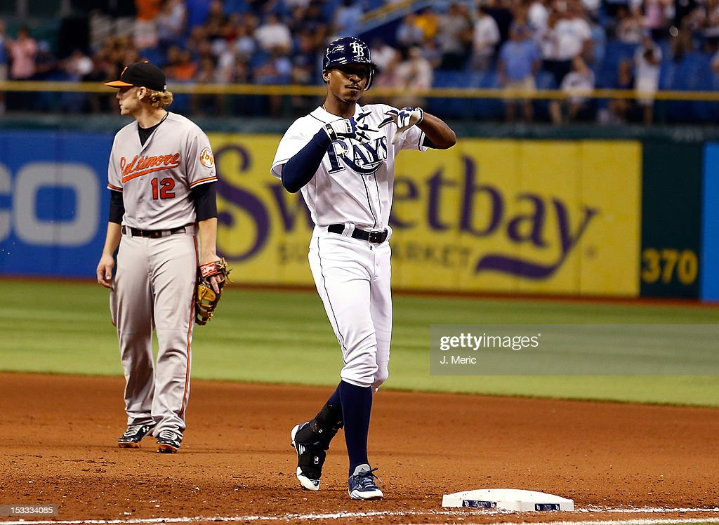 Outfielder <a gi-track='captionPersonalityLinkClicked' href=/galleries/search?phrase=B.J.+Upton&family=editorial&specificpeople=810704 ng-click='$event.stopPropagation()'>B.J. Upton</a> #2 of the Tampa Bay Rays motions to the bench during the game against the Baltimore Orioles at Tropicana Field on October 3, 2012 in St. Petersburg, Florida.