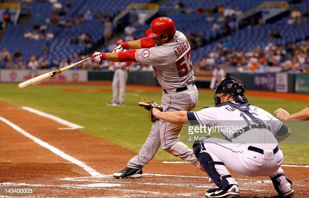 Outfielder Bobby Abreu of the Los Angeles Angels of Anaheim breaks his bat against the Tampa Bay Rays during the game at Tropicana Field on April 25...