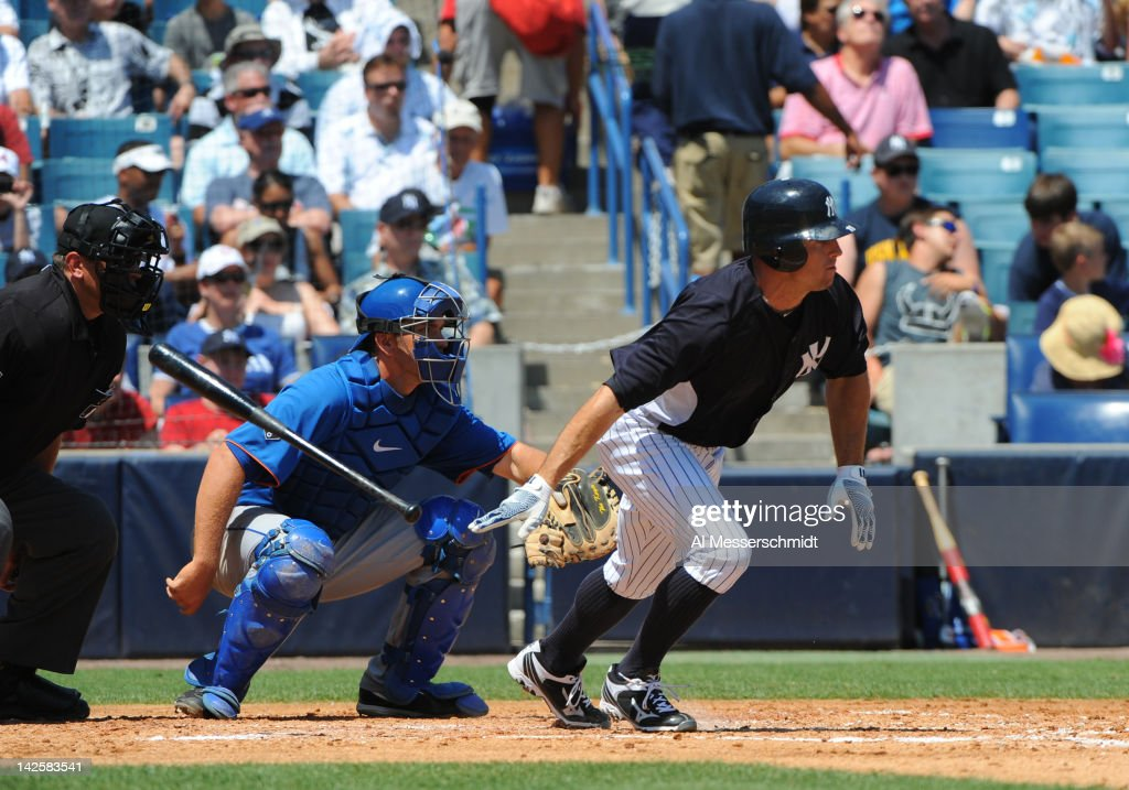 Outfielder Brett Gardner #11 of the New York Yankees bats against the New York Mets in a spring training game April 4, 2012 at George M. Steinbrenner Field in Tampa, Florida.