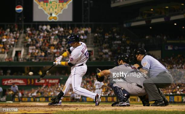 Outfielder Carlos Beltran of the National League AllStar team swings at an American League AllStar team pitch during the 77th MLB AllStar Game at PNC...