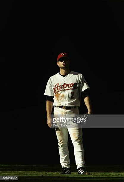 Outfielder Chris Burke of the Houston Astros looks on during Game Three of the National League Championship Series against the St Louis Cardinals at...