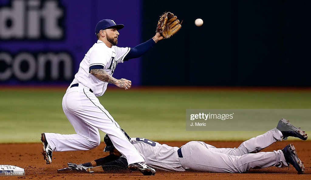 Outfielder Chris Dickerson #60 of the New York Yankees steals second base as infielder Ryan Roberts #19 of the Tampa Bay Rays takes the throw during the game at Tropicana Field on September 4, 2012 in St. Petersburg, Florida.