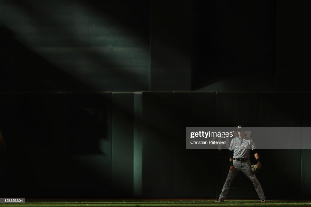 Outfielder Christian Yelich #21 of the Miami Marlins in action during the ninth inning of the MLB game at Chase Field on September 24, 2017 in Phoenix, Arizona. The Diamondbacks defeated the Marlins 3-2.