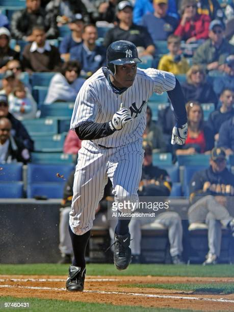 Outfielder Curtis Granderson of the New York Yankees bats against the Pittsburgh Pirates on March 3 2010 at the George M Steinbrenner Field in Tampa...