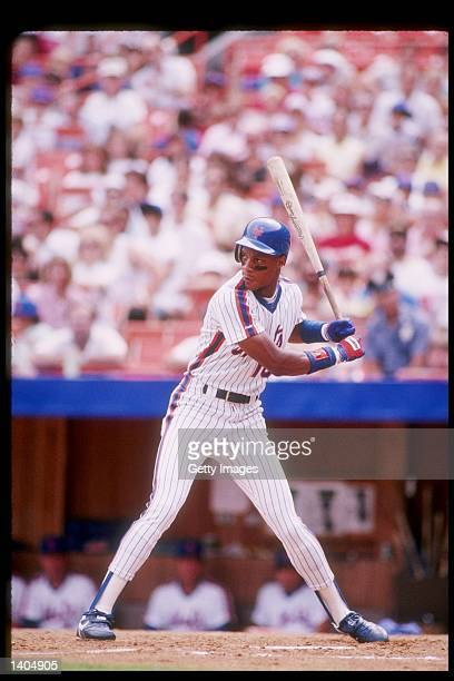 Outfielder Darryl Strawberry of the New York Mets in action during a game at Shea Stadium in Flushing New York