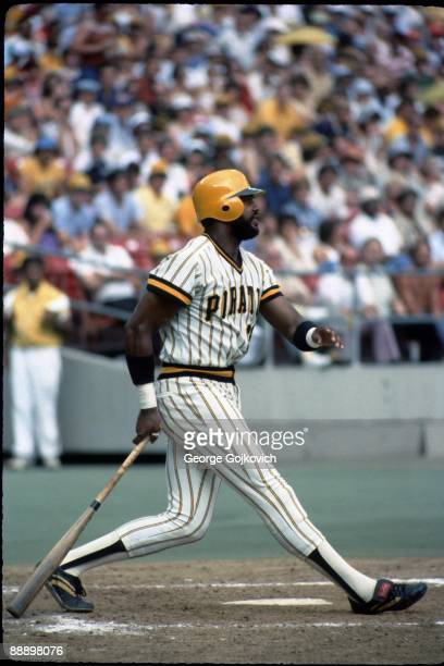 Outfielder Dave Parker of the Pittsburgh Pirates bats during a Major League Baseball game at Three Rivers Stadium in 1979 in Pittsburgh Pennsylvania