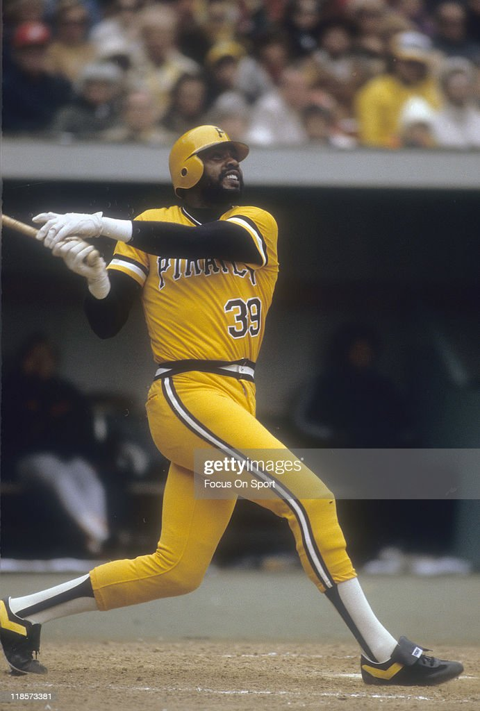 Outfielder <a gi-track='captionPersonalityLinkClicked' href=/galleries/search?phrase=Dave+Parker+-+Baseball+Player&family=editorial&specificpeople=15119297 ng-click='$event.stopPropagation()'>Dave Parker</a> #39 of the Pittsburgh Pirates swings and watches the flight of his ball during a Major League Baseball game circa 1978 at Three Rivers Stadium in Pittsburgh, Pennsylvania. Parker played for the Pirates from 1973-83.