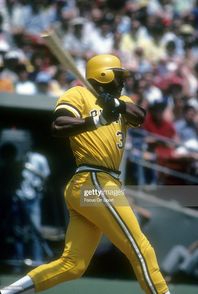 Outfielder Dave Parker of the Pittsburgh Pirates swings and watches the flight of his ball during a Major League Baseball game circa 1978 at Three...