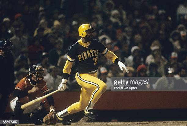 Outfielder Dave Parker swings and watches the flight of his ball during a 1979 World Series game between the Pittsburgh Pirates and Baltimore Orioles...