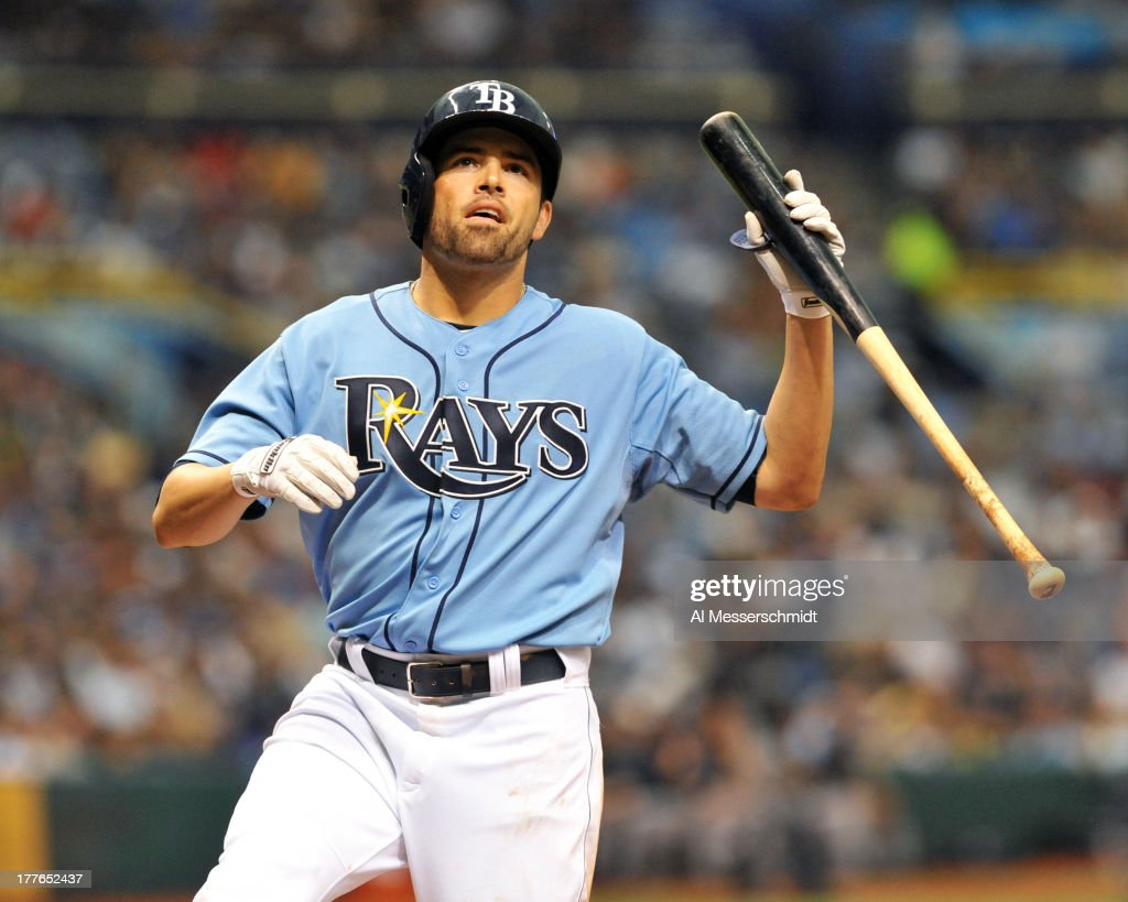 Outfielder <a gi-track='captionPersonalityLinkClicked' href=/galleries/search?phrase=David+DeJesus&family=editorial&specificpeople=206765 ng-click='$event.stopPropagation()'>David DeJesus</a> #7 of the Tampa Bay Rays reacts to a strike against the New York Yankees August 25, 2013 at Tropicana Field in St. Petersburg, Florida.