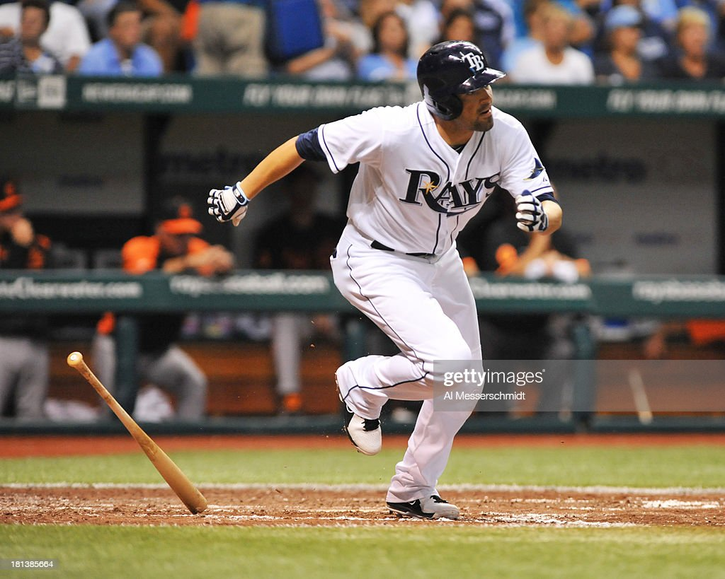 Outfielder David DeJesus #7 of the Tampa Bay Rays singles in the 5th inning against the Baltimore Orioles September 20, 2013 at Tropicana Field in St. Petersburg, Florida.