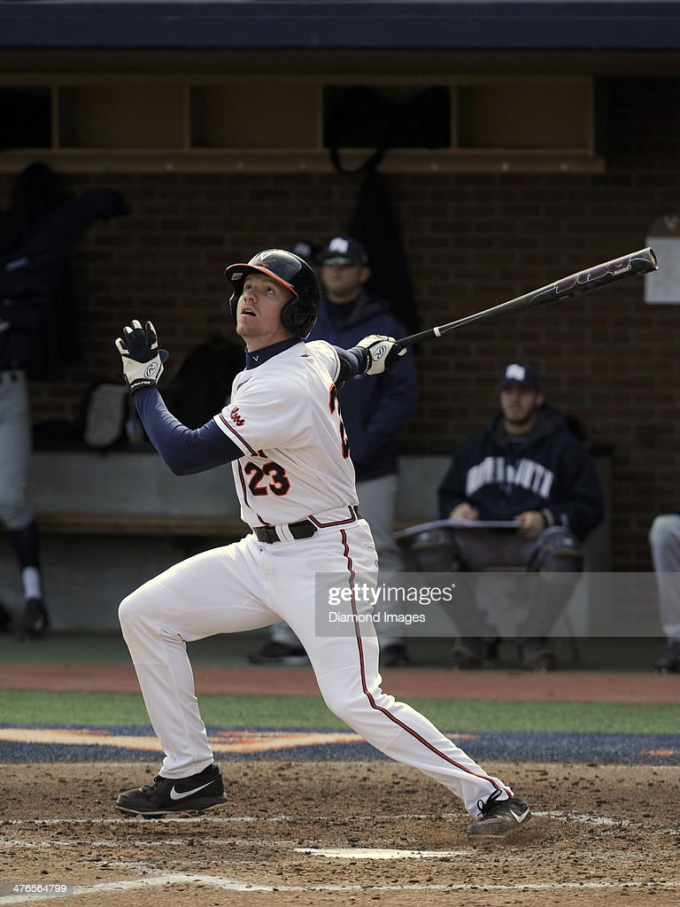 Outfielder Derek Fisher #23 of the University of Virginia Cavaliers fouls a pitch down the leftfield line leading off the bottom of the third inning of a game on March 1, 2014 against the Monmouth University Hawks at Davenport Field on the campus of the University of Virginia in Charlottesville, VA.