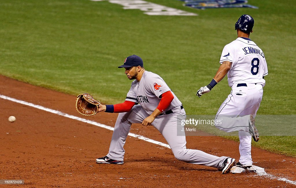 Outfielder <a gi-track='captionPersonalityLinkClicked' href=/galleries/search?phrase=Desmond+Jennings&family=editorial&specificpeople=5974085 ng-click='$event.stopPropagation()'>Desmond Jennings</a> #8 of the Tampa Bay Rays beats the throw to first baseman <a gi-track='captionPersonalityLinkClicked' href=/galleries/search?phrase=James+Loney&family=editorial&specificpeople=636293 ng-click='$event.stopPropagation()'>James Loney</a> #22 of the Boston Red Sox during the game at Tropicana Field on September 19, 2012 in St. Petersburg, Florida.