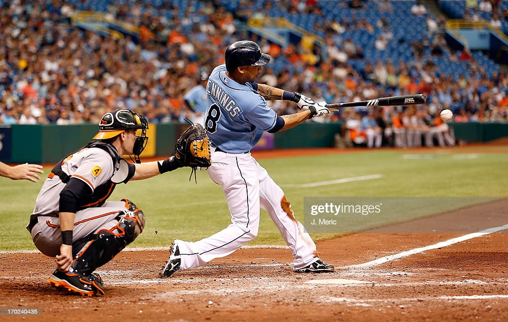Outfielder <a gi-track='captionPersonalityLinkClicked' href=/galleries/search?phrase=Desmond+Jennings&family=editorial&specificpeople=5974085 ng-click='$event.stopPropagation()'>Desmond Jennings</a> #8 of the Tampa Bay Rays breaks his bat against the Baltimore Orioles during the game at Tropicana Field on June 9, 2013 in St. Petersburg, Florida.