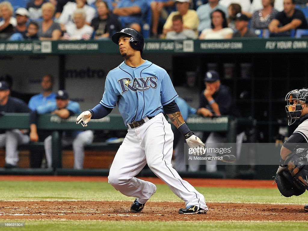 Outfielder <a gi-track='captionPersonalityLinkClicked' href=/galleries/search?phrase=Desmond+Jennings&family=editorial&specificpeople=5974085 ng-click='$event.stopPropagation()'>Desmond Jennings</a> #8 of the Tampa Bay Rays doubles in the 8th inning against the New York Yankees May 26, 2013 at Tropicana Field in St. Petersburg, Florida.