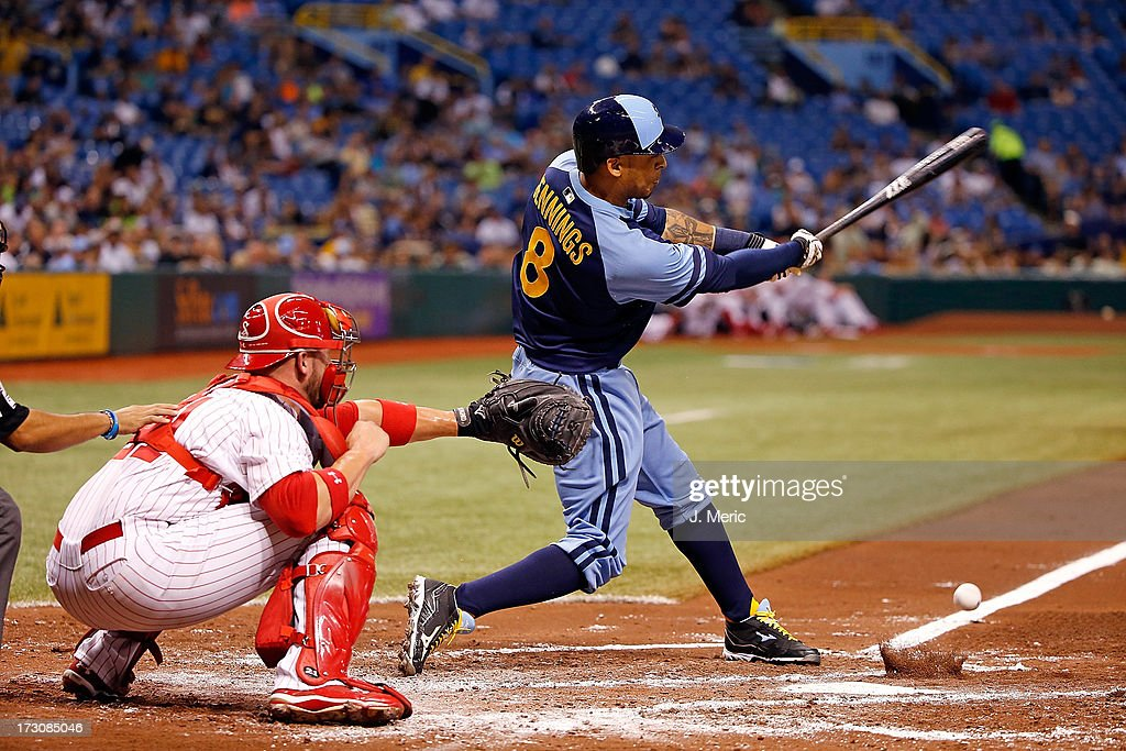 Outfielder <a gi-track='captionPersonalityLinkClicked' href=/galleries/search?phrase=Desmond+Jennings&family=editorial&specificpeople=5974085 ng-click='$event.stopPropagation()'>Desmond Jennings</a> #8 of the Tampa Bay Rays grounds out in the second inning against the Chicago White Sox during the game at Tropicana Field on July 6, 2013 in St. Petersburg, Florida.