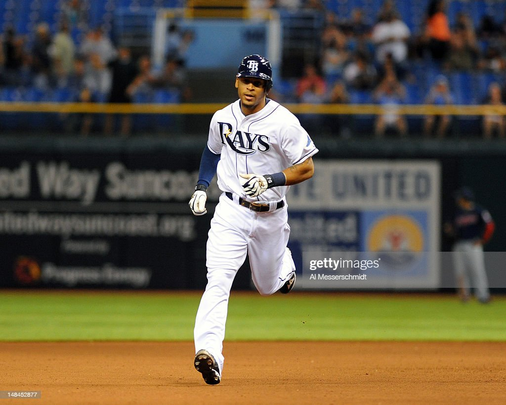 Outfielder <a gi-track='captionPersonalityLinkClicked' href=/galleries/search?phrase=Desmond+Jennings&family=editorial&specificpeople=5974085 ng-click='$event.stopPropagation()'>Desmond Jennings</a> #8 of the Tampa Bay Rays runs the bases after hitting a home run in the seventh inning against the Cleveland Indians July 16, 2012 at Tropicana Field in St. Petersburg, Florida.