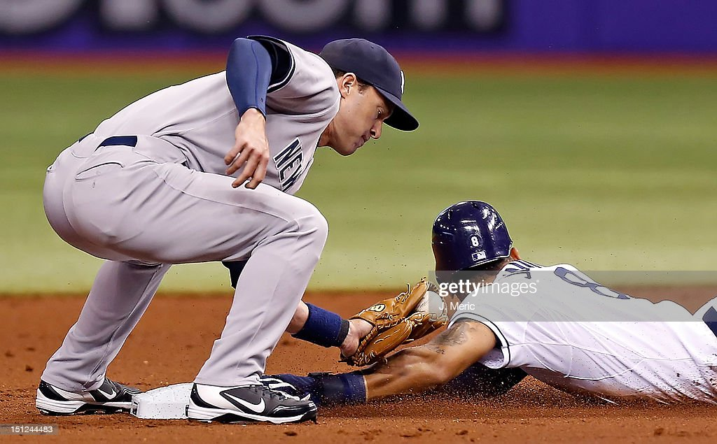 Outfielder Desmond Jennings #8 of the Tampa Bay Rays slides under the tag of infielder Jayson Nix #17 of the New York Yankees during the game at Tropicana Field on September 4, 2012 in St. Petersburg, Florida.