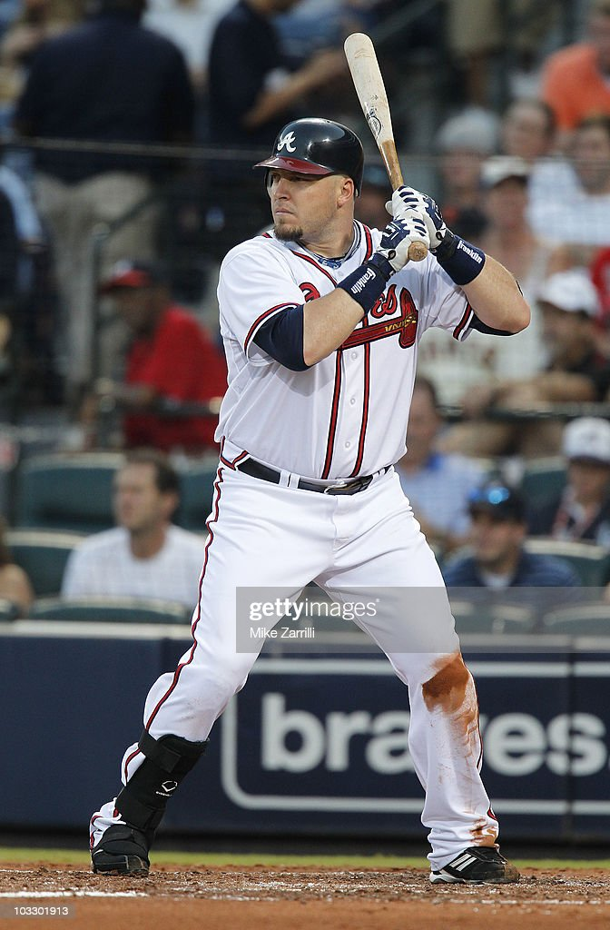 Outfielder <a gi-track='captionPersonalityLinkClicked' href=/galleries/search?phrase=Eric+Hinske&family=editorial&specificpeople=213156 ng-click='$event.stopPropagation()'>Eric Hinske</a> #20 of the Atlanta Braves gets set in the batter's box for a pitch during the game against the San Francisco Giants at Turner Field on August 7, 2010 in Atlanta, Georgia. The Braves beat the Giants 3-0.