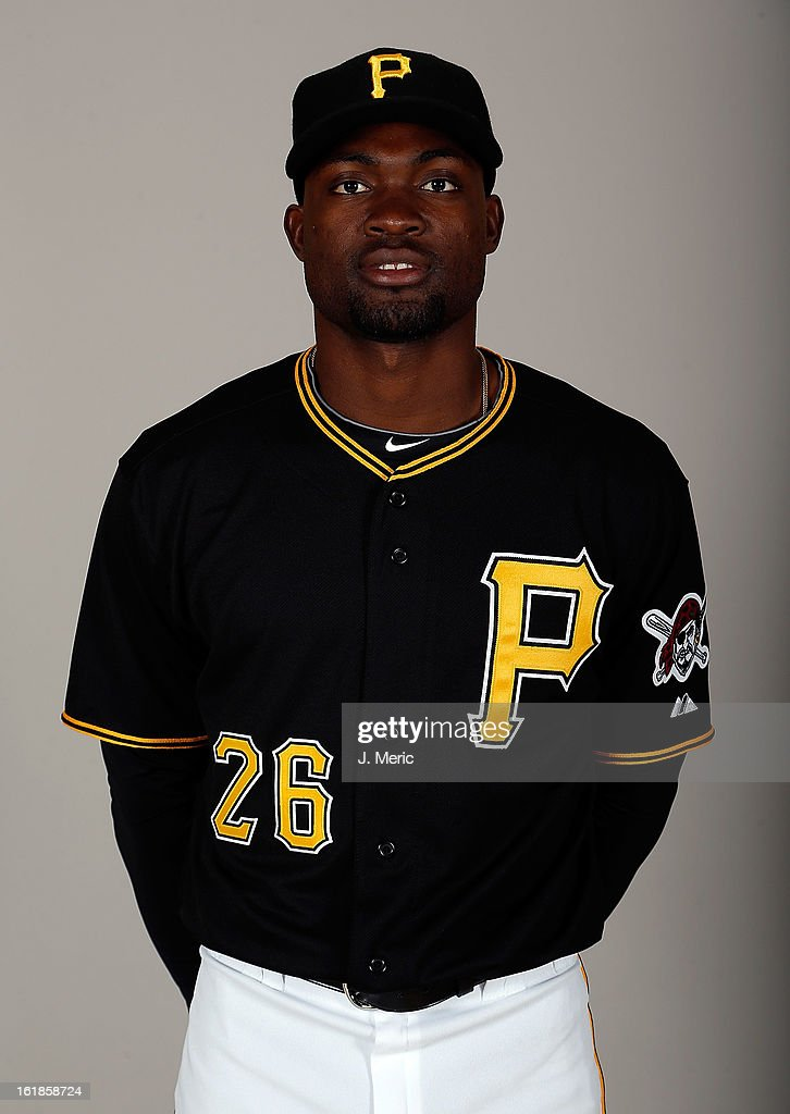 Outfielder Felix Pie #26 of the Pittsburgh Pirates poses for a photo during photo day at Pirate City on February 17, 2013 in Bradenton, Florida.