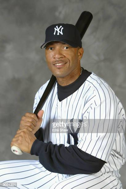 Outfielder Gary Sheffield of the New York Yankees poses for a picture during Yankees Photo Day in Tampa Florida