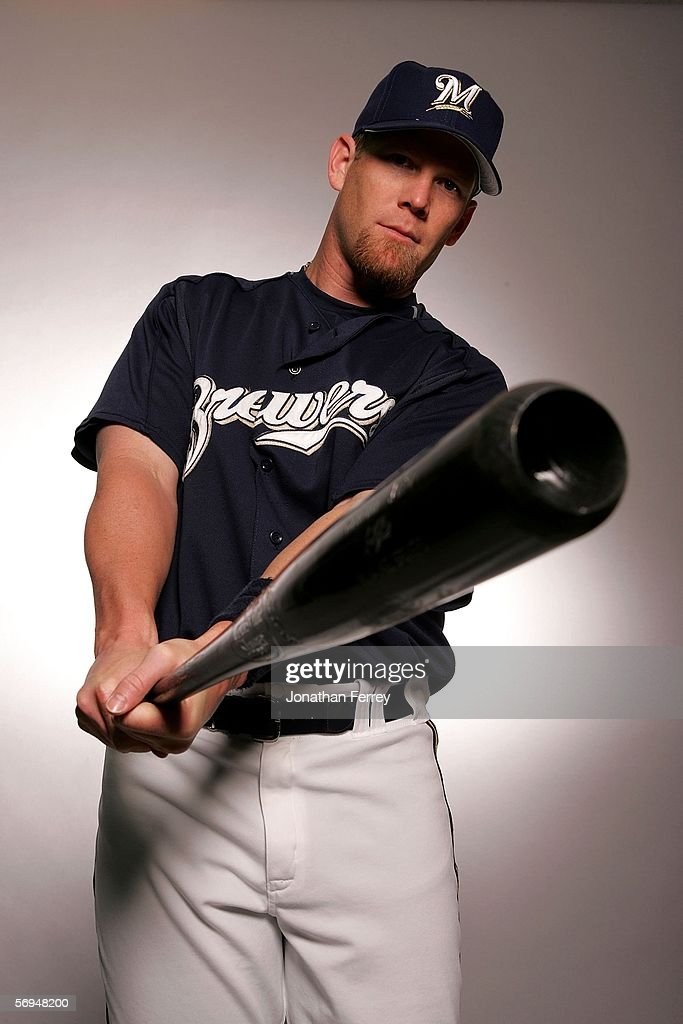 Outfielder Geoff Jenkins of the Milwaukee Brewers poses for a portrait during the Milwaukee Brewers Photo Day on February 27 2006 at Maryvale Stadium...