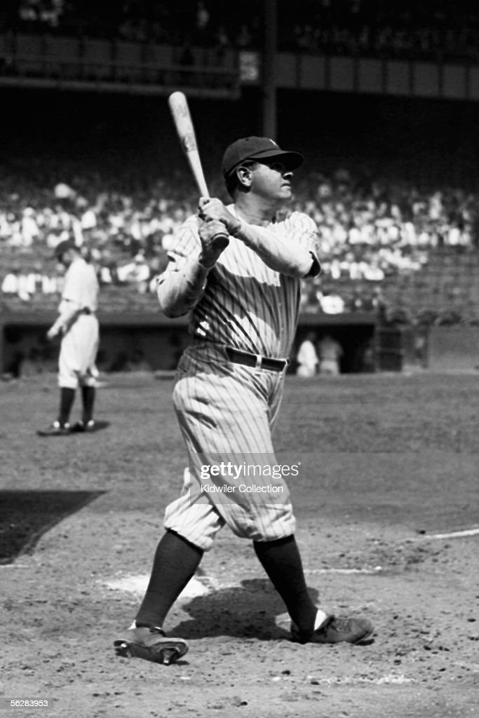 Outfielder George Herman 'Babe' Ruth of the New York Yankees takes batting practice prior to a game in 1927 at Yankee Stadium in New York New York