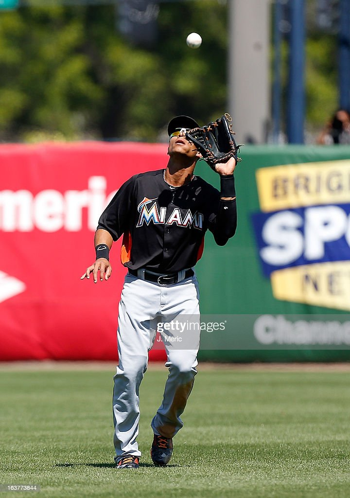 Outfielder Gorky's Hernandez #2 of the Miami Marlins catches a fly ball against the New York Yankees during a Grapefruit League Spring Training Game at George M. Steinbrenner Field on March 15, 2013 in Tampa, Florida.