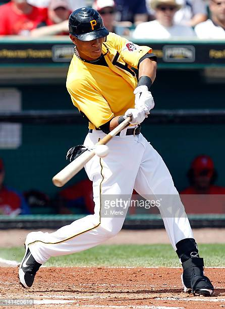 Outfielder Gorkys Hernandez of the Pittsburgh Pirates fouls off a pitch against the Philadelphia Phillies during a Grapefruit League Spring Training...