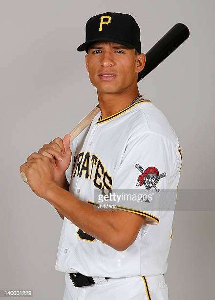 Outfielder Gorkys Hernandez of the Pittsburgh Pirates poses for a photo during photo day at Pirate City on February 26 2012 in Bradenton Florida