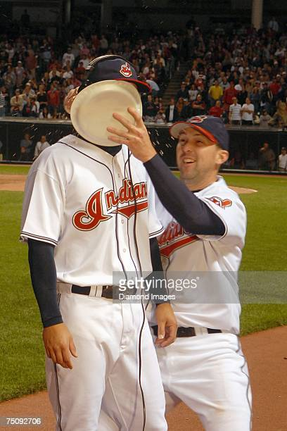 Outfielder Grady Sizemore gets a shaving cream pie in the face from teammate Trot Nixon following the Cleveland Indians game versus the Tampa Bay...