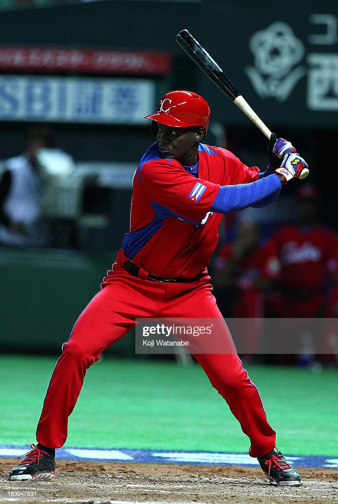 Outfielder Guillermo Heredia #17 of Cuba at bat during the World Baseball Classic First Round Group A game between Brazil and Cuba at Fukuoka Yahoo! Japan Dome on March 3, 2013 in Fukuoka, Japan.