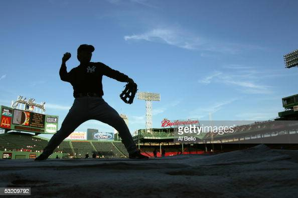 Outfielder Hideki Matsui of the New York Yankees practices for the game against the Boston Red Sox on September 24 2004 at Fenway Park in Boston...