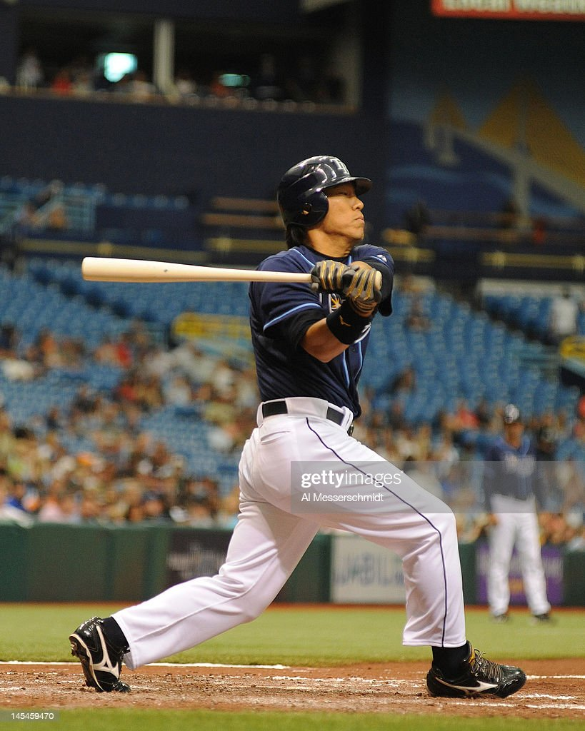 Outfielder <a gi-track='captionPersonalityLinkClicked' href=/galleries/search?phrase=Hideki+Matsui&family=editorial&specificpeople=157483 ng-click='$event.stopPropagation()'>Hideki Matsui</a> #35 of the Tampa Bay Rays bats against the Chicago White Sox May 30, 2012 at Tropicana Field in St. Petersburg, Florida.