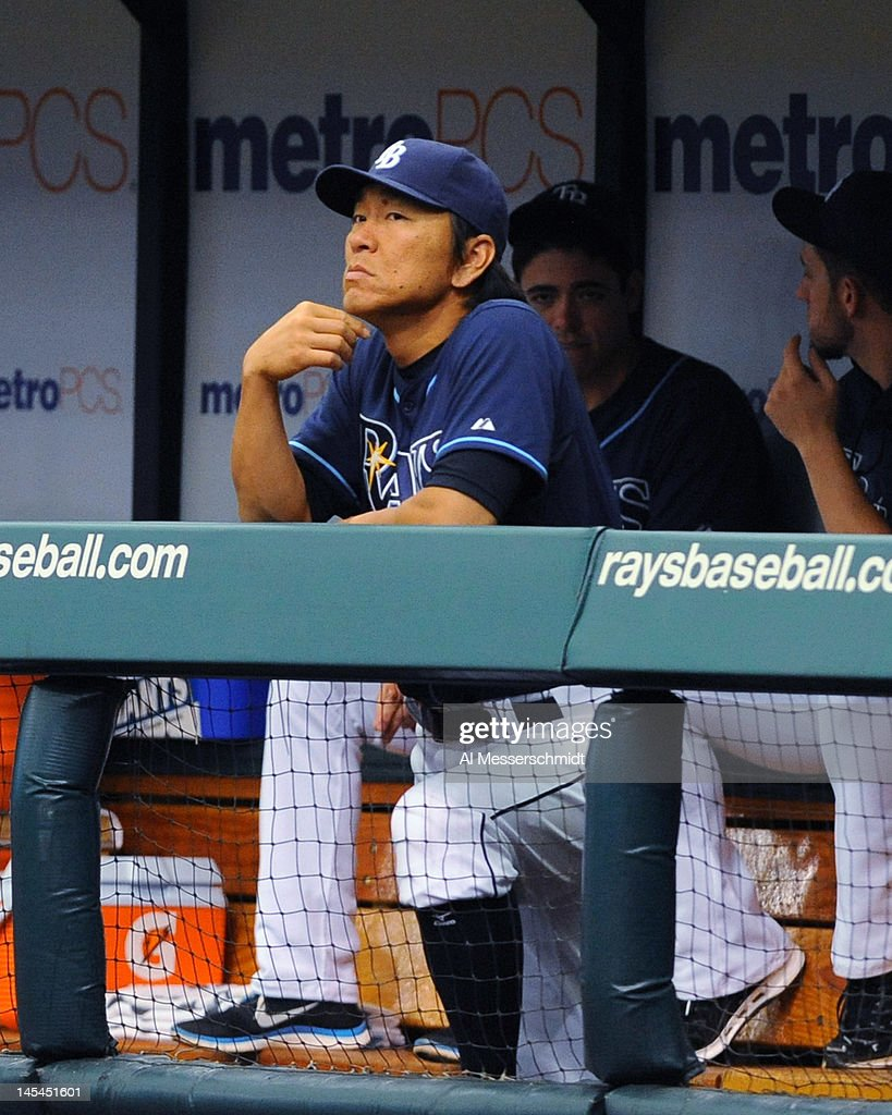 Outfielder Hideki Matsui #35 of the Tampa Bay Rays watches play rom the dugout against the Chicago White Sox May 30, 2012 at Tropicana Field in St. Petersburg, Florida. Matsui was not in the starting lineup.