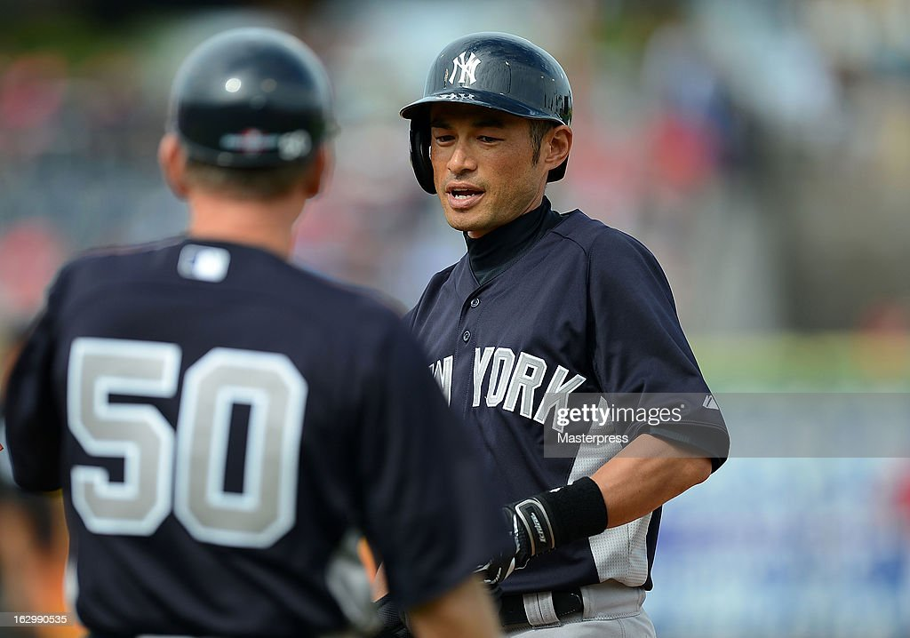 Outfielder Ichiro Suzuki #31 of New York Yankees looks on in the dugout during the spring training game against Philadelphia Phillies at Bright House Networks Field on February 26, 2013 in Clearwater, Florida.
