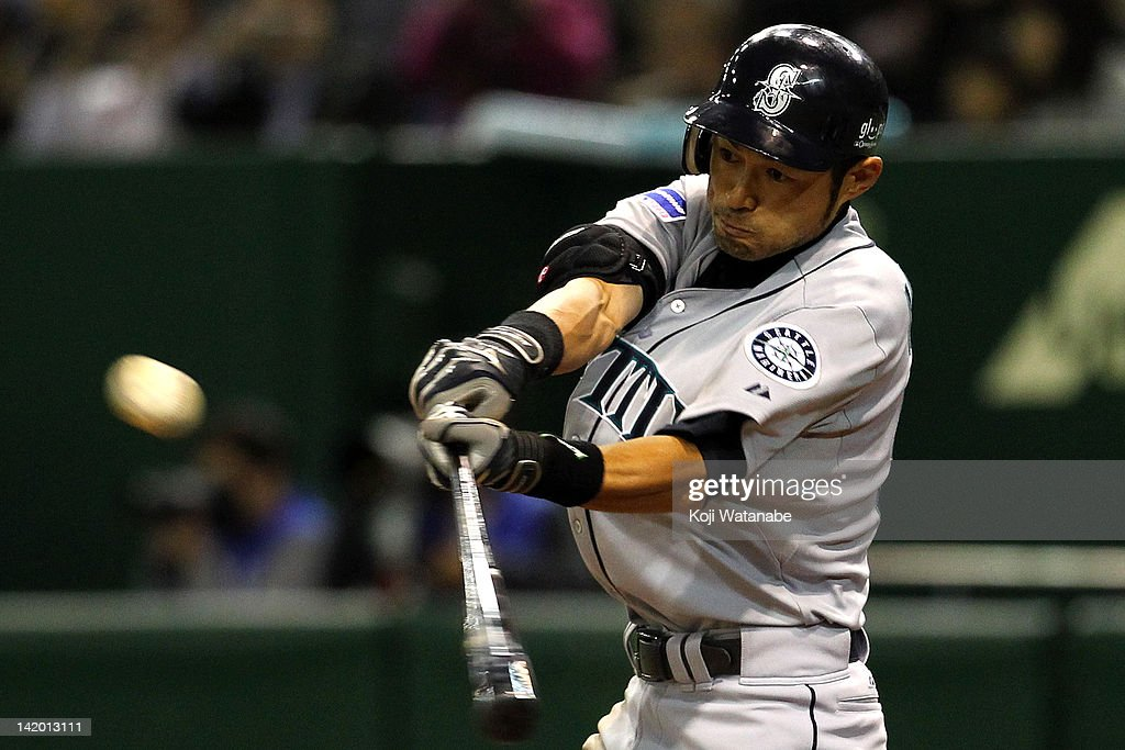 Outfielder <a gi-track='captionPersonalityLinkClicked' href=/galleries/search?phrase=Ichiro+Suzuki&family=editorial&specificpeople=201556 ng-click='$event.stopPropagation()'>Ichiro Suzuki</a> #51 of Seattle Mariners bats against the Oakland Athletics at Tokyo Dome on March 28, 2012 in Tokyo, Japan.